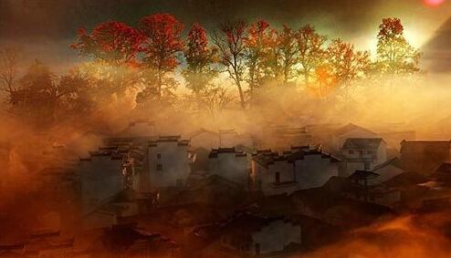 深秋晚景图手绘