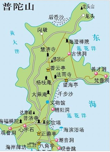 普陀山旅游地图_普陀山的地图
