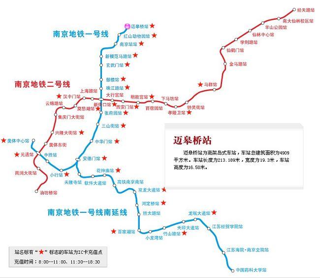 地铁票价:   南京地铁票价按里程长短分为2、3、4元三等,起步价2元,可乘坐18个站(包括起点站),3元可乘坐912个站,4元可乘坐1316个站。另外使用金陵通的乘客将获得9.5折的优惠,使用金陵通学生卡乘客将获得5折的优惠。车票有单程票和储值卡两种,储值卡可以充值反复使用,而单程票则设计成一枚蓝色地铁梅花标志的硬币。进站时乘客只要将单程票或储值卡往自动检票机上一刷,就可以进站。出站的一端有个投币口,使用单程票的乘客将蓝色硬币投入其中即可,而用储值卡的乘客则需要再刷一下卡出站。 地铁运营时间